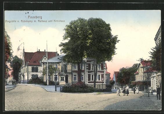 AK Pinneberg, Dingstätte n. Rübekamp m. Rathaus und Kreishaus 0