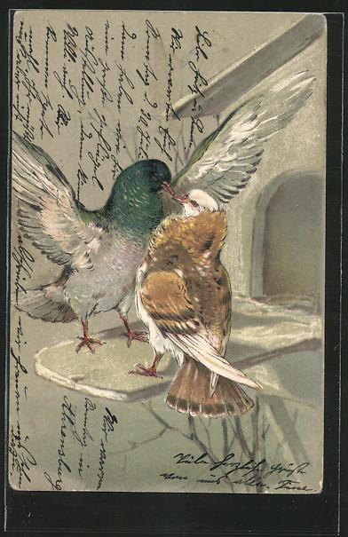 Präge-AK zwei Tauben an einem Vogelhäuschen 0