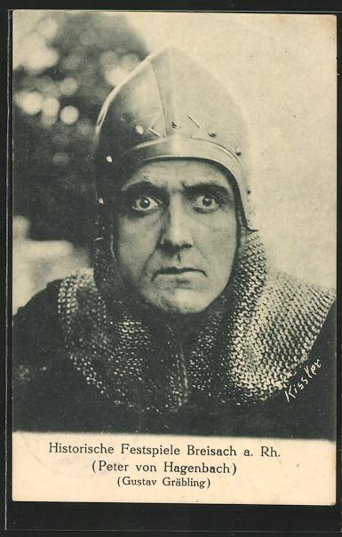 AK Breisach, Historische Festspiele, Peter von Hagenbach, Gustav Gräbling, Mann mit Eisenhut und Kettenhemd 0