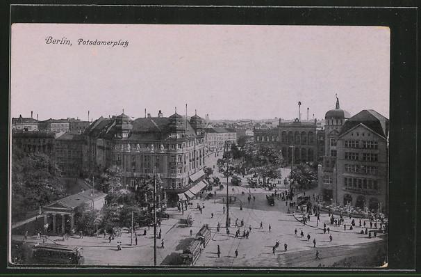 AK Berlin-Tiergarten, Potsdamer Platz m. Bahnhof & Strassenbahn 0