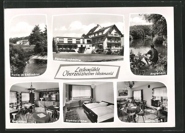 AK Oberzeuzheim, Pension Lochmühle, Gebäudeansicht, drei Innenansichten, Partie im Elbbachtal, Angleridyll 0