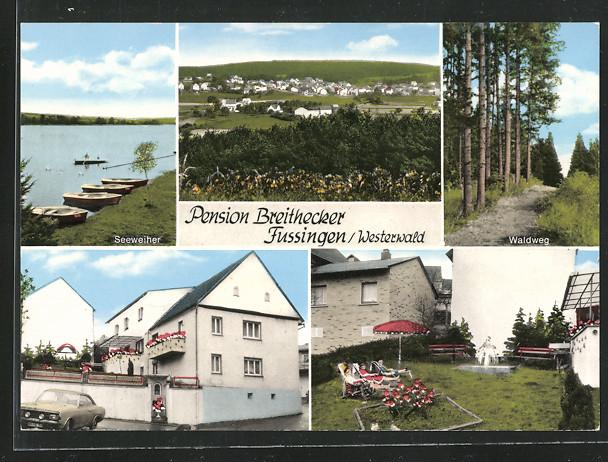 AK Fussingen, Blick zum Ort, Pension Breithecker, Gebäudeansicht, Garten, Waldweg, Seeweiher 0