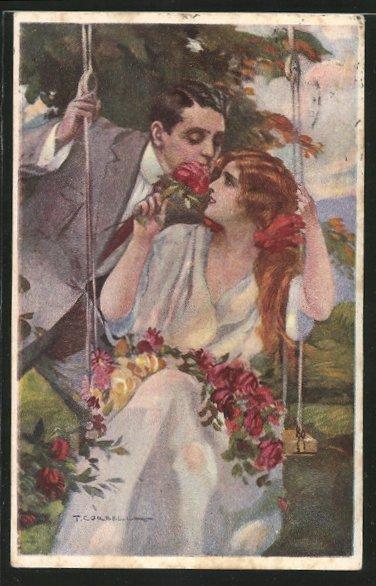 Künstler-AK T.Corbella: Liebespaar, Frau mit Blumengirlande auf einer Schaukel 0