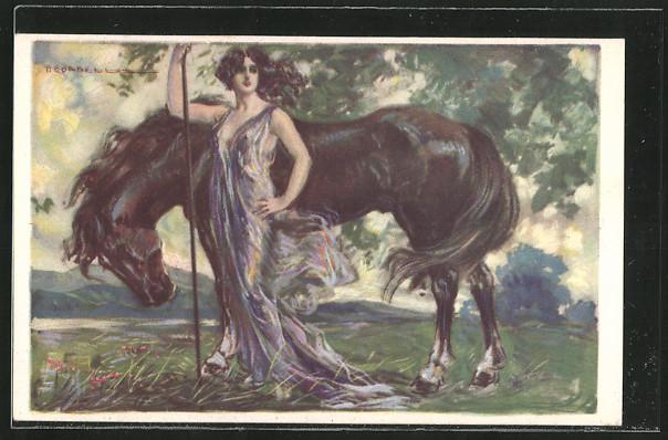 Künstler-AK T.Corbella: Frau mit Kleid hütet ein Pferd 0