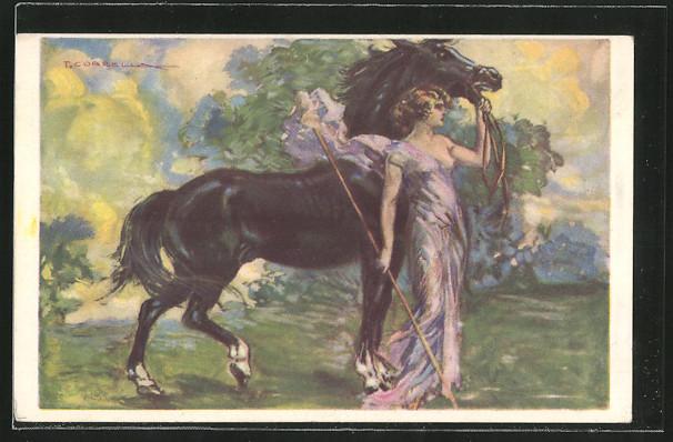 Künstler-AK T.Corbella: Frau mit Kleid hält die Zügel ihres Pferdes
