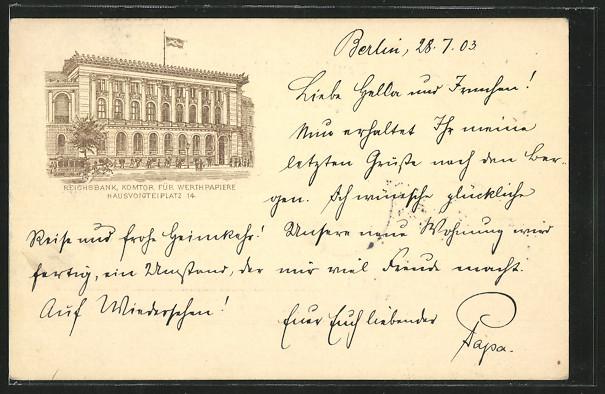 Lithographie Berlin, Reichsbank, Hausvogteiplatz 14 0