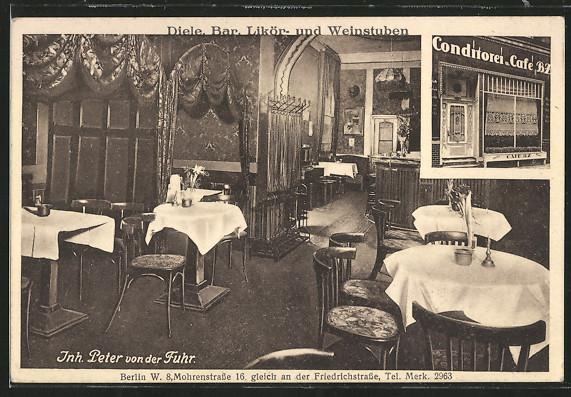 AK Berlin, Diele, Bar, Likör- u. Weinstube, Inh. Peter von der Fuhr, Mohrenstr. 16 0
