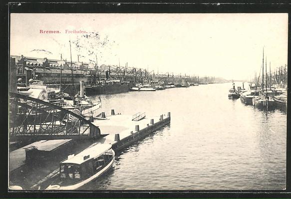 AK Bremen, der Freihafen mit Lagerhallen und festgemachten Schiffen, Ausflugsdampfer 0