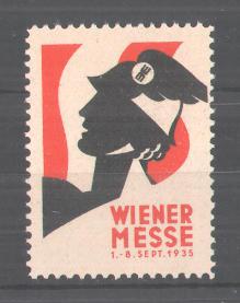Reklamemarke Wiener Messe, 1935, Soldatenkopf mit Federhelm 0