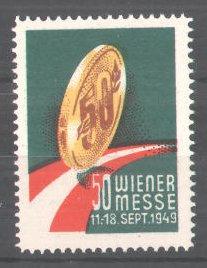 Reklamemarke Wiener Messe, 1949, Goldmünze 0