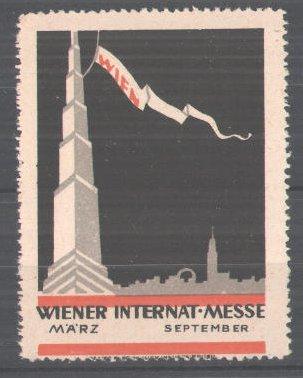 Reklamemarke Internationale Wiener Messe, Stadtsilhoulette mit Funkturm und Flagge 0