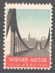 Reklamemarke Wiener Messe, 1938, Stadtsilhoulette mit Brücke 0