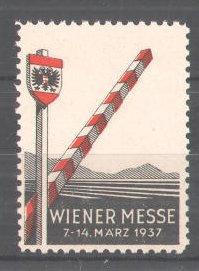 Reklamemarke Wiener Messe, 1937, Bahnschranke