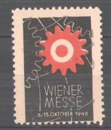 Reklamemarke Wiener Messe, 1946, Zahnrad