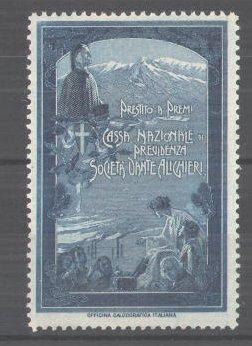 Reklamemarke Cassa Nazionale Previdenza Societá Dante Alighieri, Wappen und Dante Alighieri-Porträt