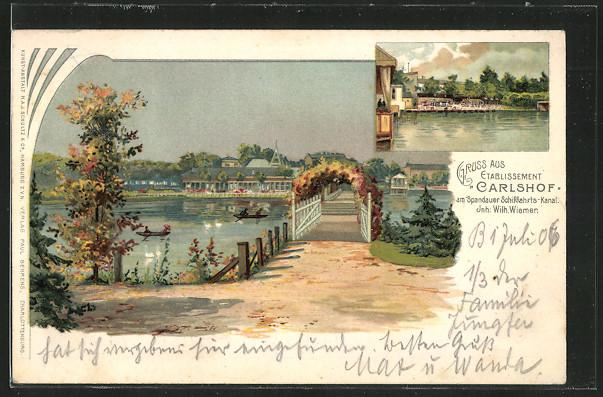 Lithographie Berlin-Charlottenburg, Gasthaus Carlshof am Spandauer Schiffahrts-Kanal Inh. Wilh. Wiemer 0