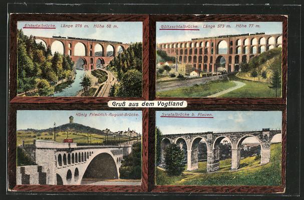 AK Netzschkau, Elstertalbrücke, Göltzschtalbrücke, König Friedrich-August-Brücke, Syratalbrücke 0