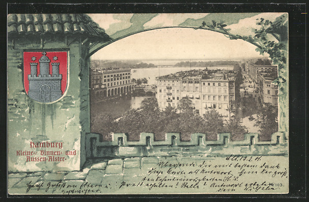 AK Hamburg, kleine Binnen- und Aussenalster, Wappen 0
