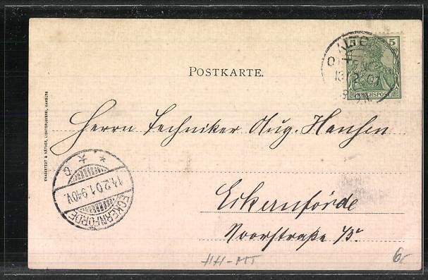 AK Hamburg, kleine Binnen- und Aussenalster, Wappen 1