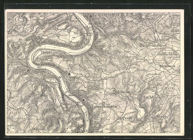 AK Boppard, Umgebungskarte am Rhein 0