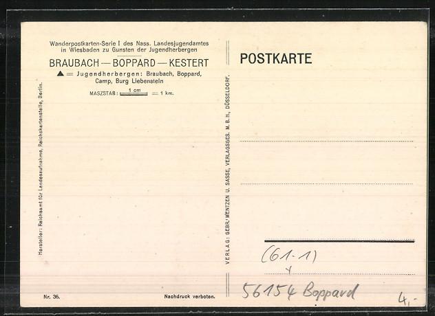 AK Boppard, Umgebungskarte am Rhein 1