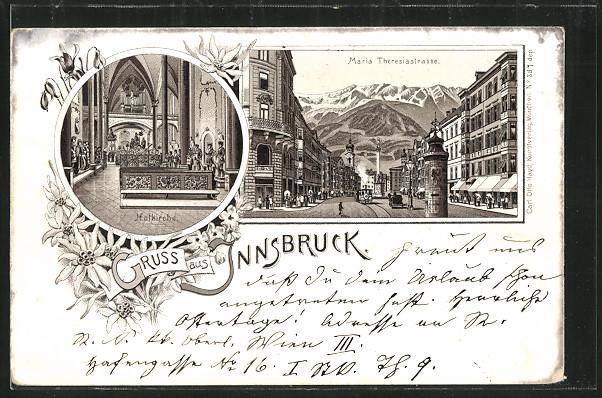 Lithographie Innsbruck, Hofkirche, Maria-Theresienstrasse mit Strassenbahn um 1900 0