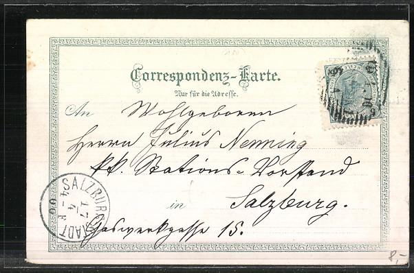 Lithographie Innsbruck, Hofkirche, Maria-Theresienstrasse mit Strassenbahn um 1900 1