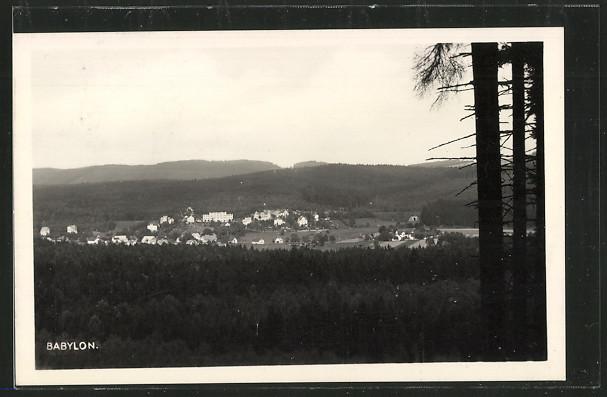 AK Babylon, Ortsansicht mit Blick auf den Böhmerwald 0
