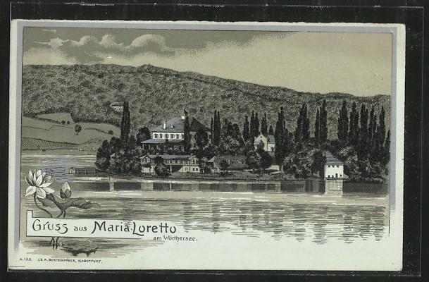 Mondschein-Lithographie Maria-Loretto am Wörthersee, Ortschaft vom See aus gesehen 0