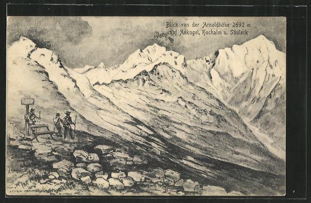 Künstler-AK Blick von der Arnoldhöhe auf Ankogel, Hochalm u. Säuleck, Wanderer am Gletscher 0