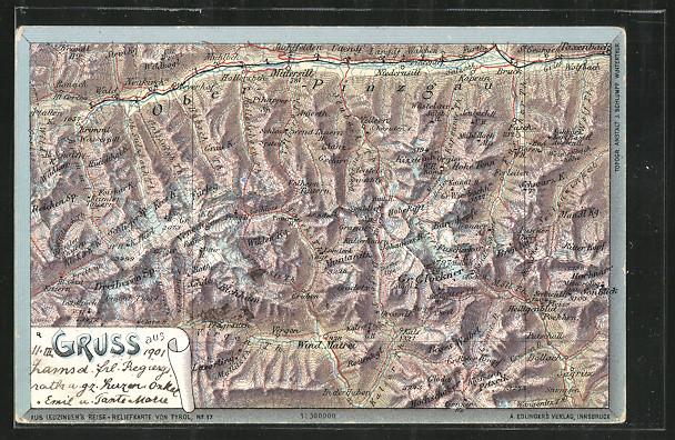 AK Wind. Martei, Landkarte der Umgebung mit Bergen 0