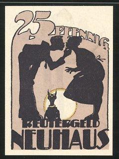 Notgeld Neuhaus 1922, 25 Pfennig, Junge küsst Mädchen, Mann verzehrt Fisch 0
