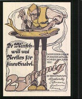 Notgeld Neuhaus 1922, 25 Pfennig, Junge küsst Mädchen, Mann verzehrt Fisch 1