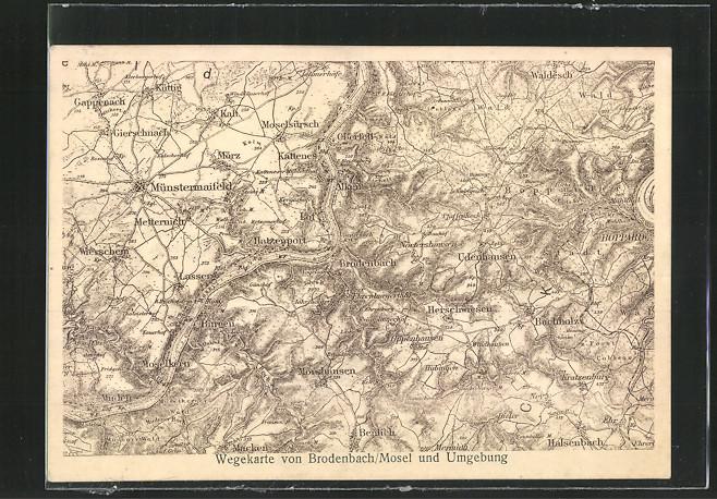 AK Brodenbach, Wegekarte von der Umgebung 0