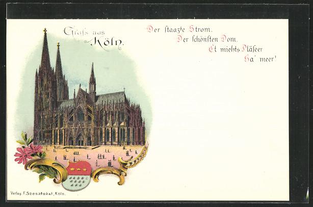 Lithographie Köln, Dom, Wappen 0