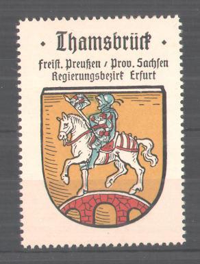 Reklamemarke Thamsbrück, Freistaat Preussen, Prov. Sachsen, Reg.-Bez. Erfurt, Ortswappen 0
