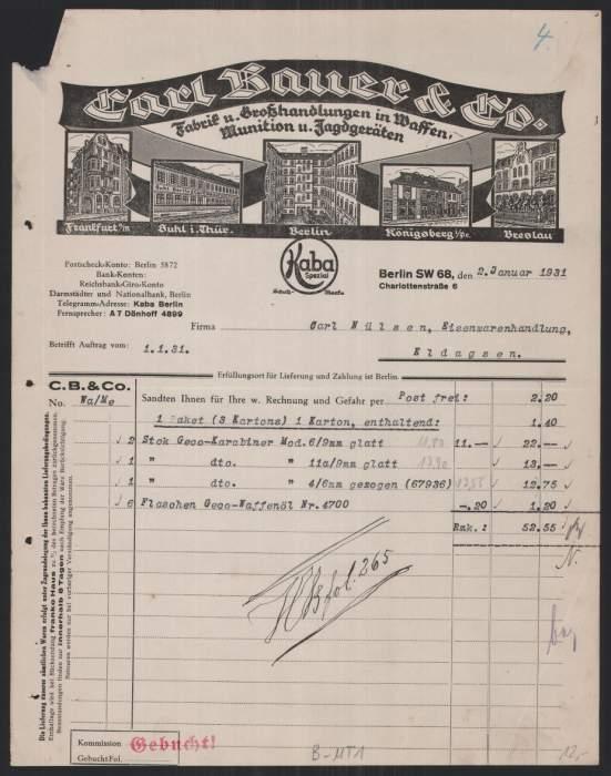 Rechnung Berlin 1931, Schmidstr. 8a, Carl Bauer, Waffenfabrik & Handlung, Fabrik Frankfurt, Suhl, Breslau, Königsberg &  0