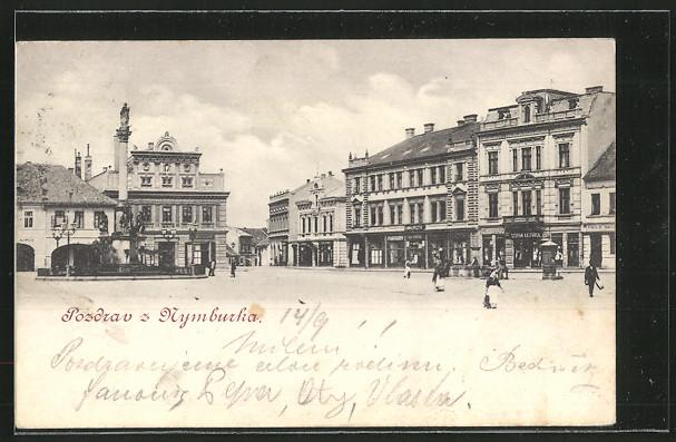 AK Nimburg / Nymburk, Marktplatz mit Leuten und Geschäften um 1900 0