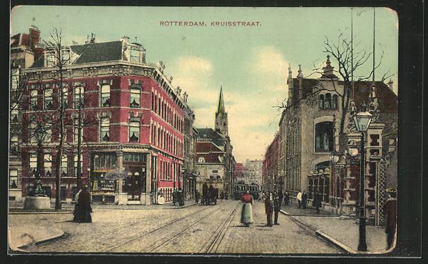 AK Rotterdam, Kruisstraat, mit Strassenbahnen 0