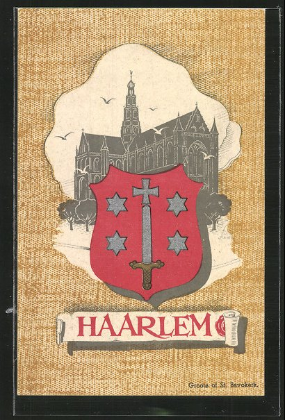 AK Haarlem, Groote of St. Bavokerk mit Wappen 0