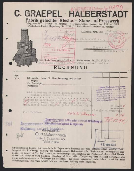Rechnung Halberstadt, 1934, C. Graepel, Fabrik gelochter Bleche, Stanz- & Presswerk 0