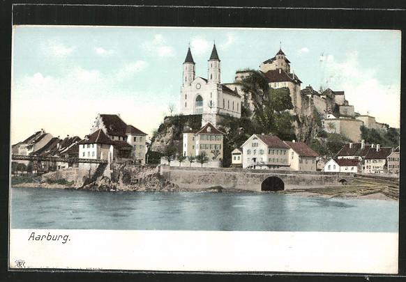 AK Aarburg, Blick zum Ufer mit Kirche