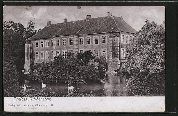 AK Harmsdorf, Blick auf Schloss Güldenstein, Schwäne im Teich 0
