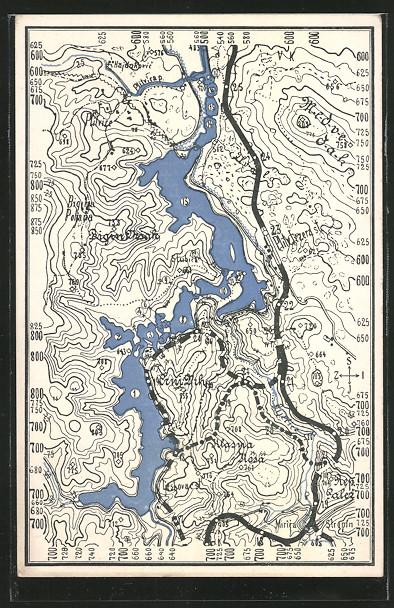 AK Landkarte, Tschechische Seen, Tlocrtna Razglednica plitvickih jezera 0