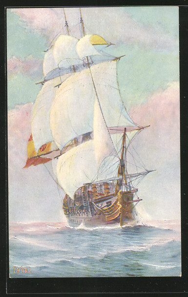 Künstler-AK Chr. Rave: Spanisches Kriegsschiff auf See 0