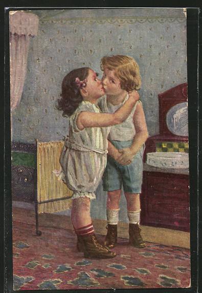 Künstler-AK Degi Nr. 1041, The first kiss, der erste Kuss 0