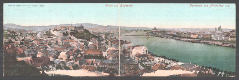 Klapp-AK Budapest, Panorama vom Blocksberg aus mit Blick über die Donau, Drezda-Budapest
