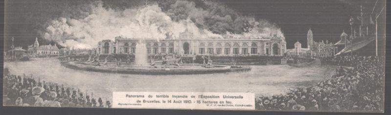 Klapp-AK Bruxelles, Exposition 1910, Panorama du terrible Incendie de l\'Exposition Universelle 0