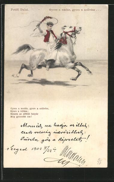 AK Reiter auf seinem galoppierenden Pferd, treibt es mit Peitsche an, \