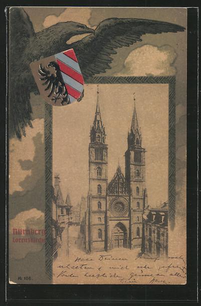 AK Nürnberg, Lorenzkirche, Adler mit Wappen in den Krallen 0